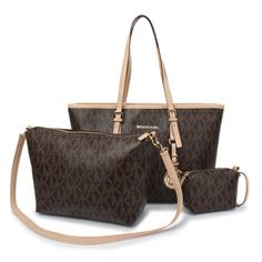 #michael #kors #outlet Cheap And Fashionable Michael Kors Jet Set Travel Logo Signature Large Coffee Totes Here Can Be As A Your Partner Forever!