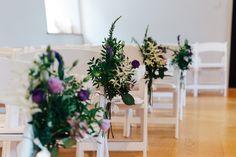 Chair Flowers Aisle Ceremony Pew End Purple Blue Bohemian Wonderland Tea Party Wedding http://www.christinemcnally.co.uk/