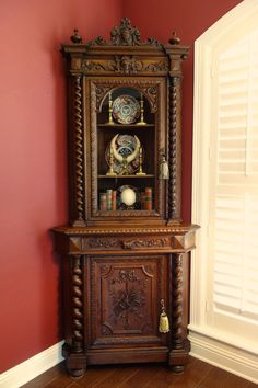 TALL Antique French Carved Oak Barley Twist CORNER Cabinet Renaissance Bookcase #Renaissance