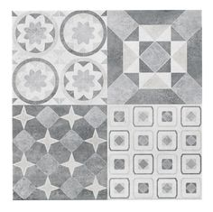Lofthouse French Grey Patchwork Ceramic Wall & Floor Tile, Pack of 9, (L)331mm (W)331mm | Departments | DIY at B&Q