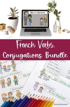 French verb conjugation practice is so important! French verb conjugation worksheets for avoir, porter, and être are included alongside an instructional slideshow for avoir, an avoir conjugation word wall set, and posters for conjugating avoir!   La conjugaison des verbes français est importante! Des feuilles de travail pour la conjugaison etre, la conjugaison avoir et la conjugaison porter sont incluses dans ce bundle. Il y a aussi un diaporama et un mur de mots pour le verbe «avoir»! Verb Conjugation, French Verbs, Core French, French Resources, French Teacher, French Immersion, Vocabulary Words, Teacher Newsletter, Art Images