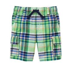 Toddler Boys Jungle Green Plaid Cargo Shorts by Gymboree