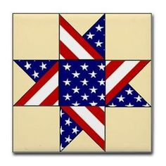 Patriotic Quilt Pattern Tile Coaster on CafePress.com