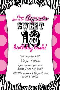 Sweet 16 Zebra Print Invitation Birthday Party Baby Shower 1st Hot Pink or Any | eBay