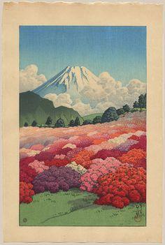 """""""View of an Azalea Garden from Mount Fuji"""" by Hasui, Kawase"""
