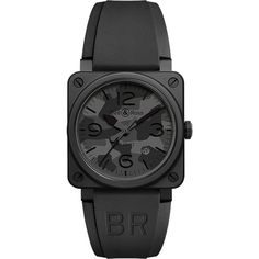BELL & ROSS BR0392 Camo PVD coated and rubber watch ($3,750) ❤ liked on Polyvore featuring men's fashion, men's jewelry, men's watches, mens black face watches, mens rubber watches and tissot mens watches