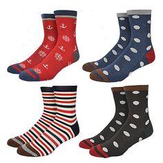 86094374f2b Amazon.com: Welen Men's Fashionable Colorful Pattern Design Soft Cotton  Socks (Set 9): Clothing