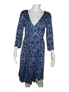 32.66$  Watch now - http://viwpl.justgood.pw/vig/item.php?t=uv1x9242946 - Tommy Bahama Blue Floral Pineapple Print 100% Silk 3/4 Sleeve Wrap Dress S 4 6