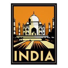 taj mahal india art deco retro travel vintage posters by strk3