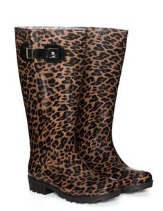 JJ Footwear Leopard print wellington boots  in Black / Camel