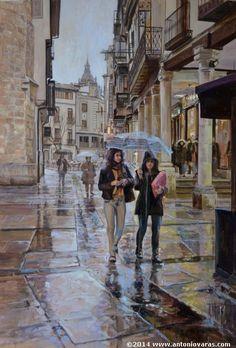 """""""Atardecer en El Corrillo, Salamanca"""".  Antonio Varas de la Rosa (Madrid, 1954- )."""