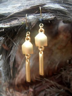 Gold & Black Dangle Earrings by ToTheMoon on Etsy, $10.00