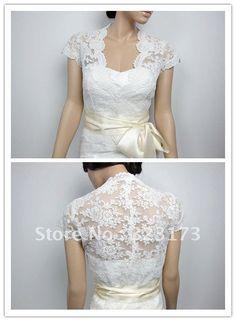 Ivory Front Open Alencon Cap Sleeves Lace Bolero Jacket Bridal Bolero Wedding Jacket Bridal Shrug