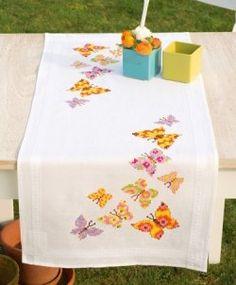 """Комплект для вышивания Vervaco """"Бабочки"""" (дорожка, 40х100 см)"""