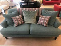 Feather wrapped foam bases with feather scatter back cushions.  Linwood Delta (stain resistant plain cotton) and dark wood legs.  Reduced from £2,200 inc VAT to £1,500 inc VAT.   Our display has been dressed with wool cushions & throw from Linwood's Mismi collection plus a large scatter (one of two) from O&L.  These may be purchased separately if desired. Bespoke Sofas, Traditional Sofa, Cushion Filling, Dark Wood, Cribs, Feather, British, Cushions