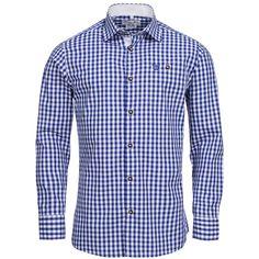 Trachtenhemd Body Fit in Blau von Gweih und Silk