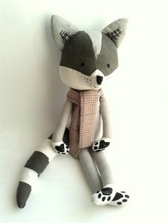 RUSTIC RACCOON. stuffed toy. eco toy. kids room by LESNE on Etsy