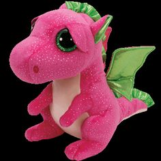 """Darla the Pink Dragon - Medium 9"""" """"They say I`m bold, fun and pink. I love to do puzzles, they make me think!"""" Birthday: May 25 Beanie Boos are an adorable Ty collection of plush full-bodied animals w"""