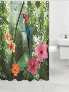 Parrot & Nature Pattern Waterproof Mildew Proof Polyester Fabric Shower Curtain w/Hooks