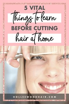 If you& ready to attempt cutting your own hair at home, you need to learn a few things first. Don& worry. this ultimate guide covers what you need to know! Cut Own Hair, Cut Hair At Home, How To Cut Your Own Hair, Grow Hair, Hair Cuts, Heatless Hairstyles, Diy Hairstyles, Natural Hair Care, Natural Hair Styles