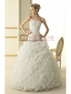 $407.24Classic Strapless Chapel Train Organza Ball Gown Wedding #Dress #With #Ruched