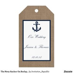 The Navy Anchor On Burlap Beach Wedding Collection Pack Of Gift Tags
