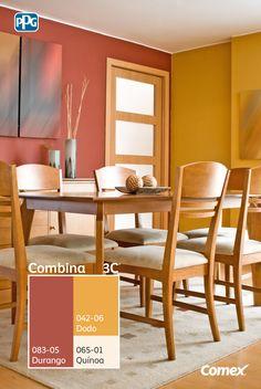 Logra el balance perfecto de color en tu proyecto seleccionando 3 tonos distintos, 60% color predominante, 30% color intermedio y 10% color de acento. ¿Qué te parece esta idea para aplicar en tu comedor? #Combina colores y transforma tu espacio. #Combina3C® Dining Room Colour Schemes, Dining Room Paint Colors, Paint Colors For Home, Room Colors, Interior Design Living Room, Living Room Designs, Living Room Decor, Bedroom Decor, Living Room Orange