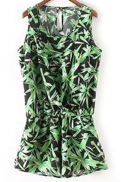 Sleeveless Bamboo Leaf Playsuit