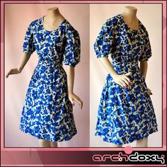 Vintage 1940s Super WW2 'Agent Carter' Blue Tea Dress http://www.ebay.co.uk/itm/Vintage-1940s-Super-WW2-Agent-Carter-Print-Sweetheart-Blue-Tea-Dress-UK14-/282035970240 #vintagedress #vintage