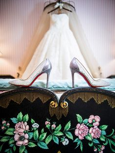 Position each heel on either side of your wedding gown to recreate this stunning image.