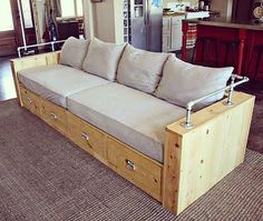 Modern Wood Storage Sofa (Ana White) is part of Diy furniture plans - Hi everyone! Hope you are doing well! I am so excited to share with you today's project plan! My friend Brooke wrote me askin Diy Furniture Plans, Pipe Furniture, Pallet Furniture, Furniture Projects, Furniture Design, Diy Projects, Ana White Furniture, System Furniture, Furniture Removal