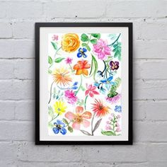 Spring whimsical flowers watercolor painting by Sweepinggirl