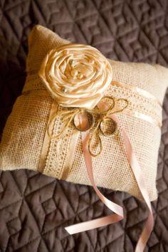 Burlap and Lace ring bearer pillow