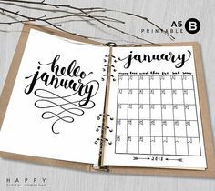 Printable 2018 Monthly Planner Hello 2018 A5 Monthly Planner