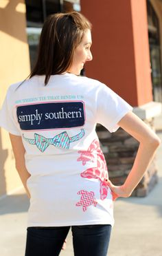 """Simply Southern is a preppy T-shirt collection. This white tee features a screen print of turtles and all things preppy! Model is 5'8"""" wearing a small. 100% Cotton PRESHRUNK Unisex tee. Body Widt..."""