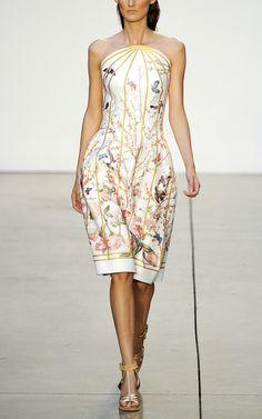Birdcage Print Strapless Dress by Thakoon
