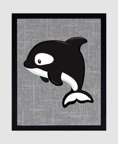 ***** FRAMES ARE NOT INCLUDED**** ITEM DETAILS: Orca Whale on Gray Linen Background, Arctic Animal Theme. These Prints can be personalized and