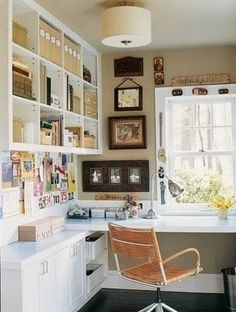 Office/Craft Room ~Picture frames along the window, wall color and frames