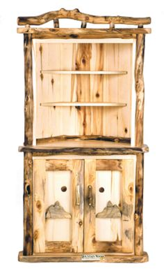 We carry this Mountain Woods Rustic Aspen Log Corner Hutch, and other fine American-made rustic furniture and décor. Browse our rustic furniture catalogs now. Free Delivery to 48 states. Rustic Log Furniture, Dining Room Furniture, Pallet Furniture, Furniture Stores, Furniture Plans, Corner Hutch, Black Forest Decor, Barn Wood, Rustic Decor