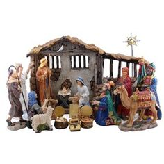 Complete heirloom-quality nativity scene set. Lighted stable with 19 pieces! Includes the gifts of the wise men. $235.95 #CatholicCompany