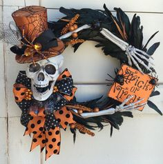 Halloween Skeleton Wreath, Skeleton wreath, trick or treat wreath, Halloween…