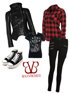 Black Veil Brides outfit by charleemoon featuring silver shoes ❤ liked on Polyvore | Tumblr