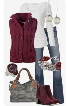 STITCH FIX This maroon vest is so cute!! And the matching maroon booties Fall 2017 outfit