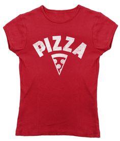 Women's Team Pizza T-Shirt - Juniors Fit Vintage Retro Athletic Logo Inspired