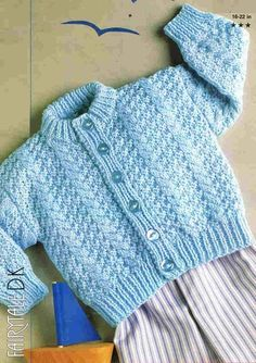 baby cardigan vintage knitting pattern 16 - 22 inch chest size double knitting wool PDF Instant download