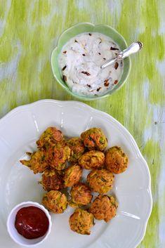 Onion Bhajiya with Caramelised Onion Raita: Delicious Spiced Onion Fritters and a luscious Caramelised Onion Yogurt Dip
