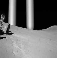 This photo is part of a short video shot by an Apollo astronaut.A pair of metal tubes, described as being miles high,appeared on the horizon and was described as moving instantaneously to the opposite horizon,just missing the LEM.I only know it was mission 15,16,17.The astronout involved was either Eugene Cernan, John Young, Jim Irwan.Examination of the video shows progression by the poles,rather than being instaneous.The incident was well known at NASA,leaked, and verified by the astronauts…