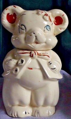 1940s Antique Vintage Turn a bout The 4 in 1 Cookie Jar Boy Girl & Bear USA