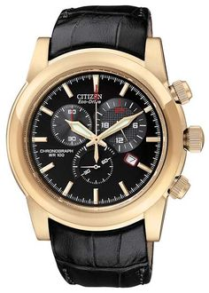 Citizen - Gents Eco-Drive Chronograph Leather Strap Watch - AT0553-13E  RRP: £199.00 Online price: £159.00 You Save: £40.00 (20%)  www.lingraywatches.co.uk