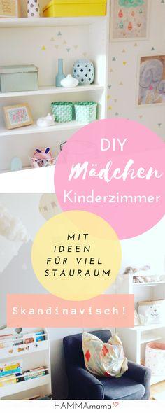 Skandinavisch! Kinderzimmer Ideen für Mädchen in grau mit pastelligen Farben und viel Stauraum sowie kluger Aufbewahrung